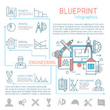 Blueprint And Engineering Linear Infographics Stock Photos