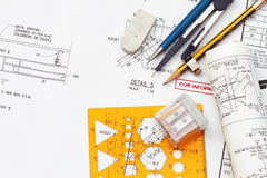 Blueprint and engineering tools Royalty Free Stock Photos
