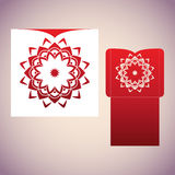 Blueprint of the envelope with mandala. Laser cutting template for envelopes and invitations stock illustration