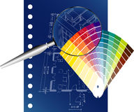 Blueprint with fan Royalty Free Stock Photography