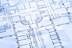 Blueprint - the floor plan. A close up of architectural building plan - in blue light Stock Photo