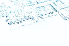 Blueprint floor plan, technical drawing, construction background Stock Photography