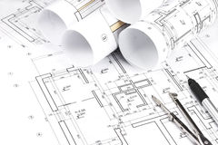 Rolled building plans Royalty Free Stock Photo
