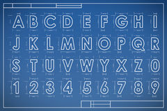 Blueprint font alphabet  Stock Images