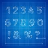Blueprint font Royalty Free Stock Images