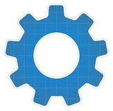 Blueprint gear icon Stock Photography