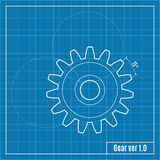 Blueprint of gear. Vector illustration. Stock Image