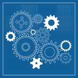 Blueprint gear wheels. A blueprint background with gear wheels vector illustration
