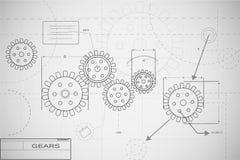 Blueprint Gears Illustration. On white Stock Photo