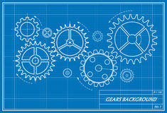 Blueprint of gears Royalty Free Stock Image