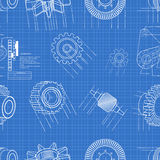 Blueprint gears seamless Stock Photo