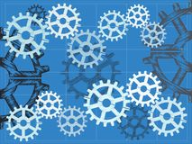 Blueprint gears sketchy grid  illustration Royalty Free Stock Image