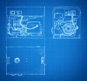 Blueprint of generator drawings and sketches Stock Image