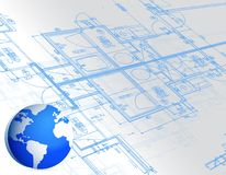 Blueprint and globe illustration design Stock Images