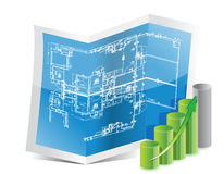Blueprint and graph Stock Image