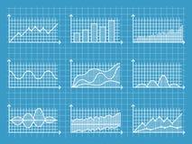 Blueprint graphes linéaires infographic et dresse une carte le calibre pour l'illustration de vecteur de design d'entreprise de r Photo stock