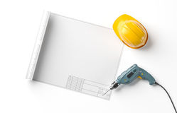 Blueprint, helmet and drill on  background Royalty Free Stock Image
