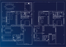 Blueprint home. Architectural draw of home plan with interior done Royalty Free Stock Images