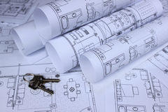 Blueprint of home and home keys Stock Image