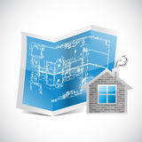 Blueprint and home illustration design Stock Photo
