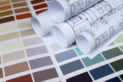 Blueprint of home and paint color palette Royalty Free Stock Photo