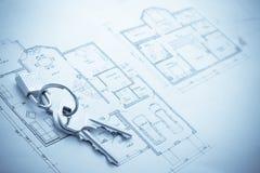 Blueprint hose plan with keys concept Stock Images