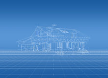 Blueprint of house. 3D rendered house with white outlines on blue background Royalty Free Stock Image