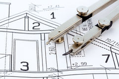 Blueprint for a house. An architect's blueprint for the construction eiones new house. photo icon for financing and planning of a new house Royalty Free Stock Photos