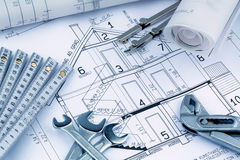 Blueprint for a house. An architect's blueprint for the construction of a new house. photo icon for financing and planning of a new house Royalty Free Stock Photo
