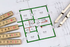 Blueprint for a house. An architect's blueprint for the construction of a new house. photo icon for financing and planning of a new house Royalty Free Stock Photography