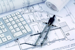 Blueprint for a house. An architect's blueprint for the construction of a new residential house. symbolic photo for funding and planning of a new home Royalty Free Stock Photo