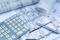 Blueprint for a house. An architect's blueprint for the construction of a new residential house. symbolic photo for funding and planning of a new home Stock Photo