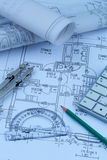 Blueprint for a house. An architect's blueprint for the construction of a new house. symbolic photo for funding and planning of a new home Royalty Free Stock Images