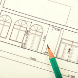 Blueprint of house. Architecture blueprint of house and pencil, square toned image Stock Photos