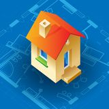 Blueprint and house concept Stock Image