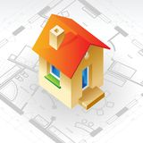 Blueprint and house concept Stock Photos