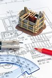 Blueprint of a house. Construction. Blueprint for a house. pig and drawings Royalty Free Stock Photos