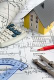 Blueprint of a house. Construction. Blueprint for a house. drawings and house Stock Photo