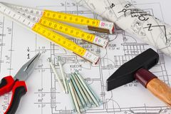 Blueprint of a house. Construction Royalty Free Stock Photography