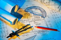 Blueprint of a house. Construction. R blueprint for a house. Floor Plans and drawings of an architect Stock Photos