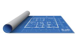 Blueprint house design roll. Blueprint house design isolated on white background, partially rolled on one side Stock Images