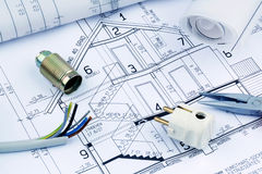 Blueprint for a house. electrical. An architect's blueprint for the construction of a new residential house. symbolic photo for funding and planning of a new Royalty Free Stock Photo