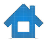 Blueprint house icon Stock Photos