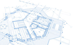 Blueprint house plan Stock Photo