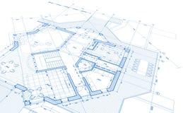 Blueprint house plan stock photo