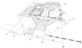 Blueprint house plan Stock Image