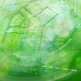 Blueprint house plan & green technology radial background stock illustration