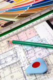 Blueprint of house plans Royalty Free Stock Photography