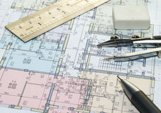 Blueprint of house plans Royalty Free Stock Image
