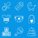 Blueprint icon set. Baby. Children. Family Royalty Free Stock Image